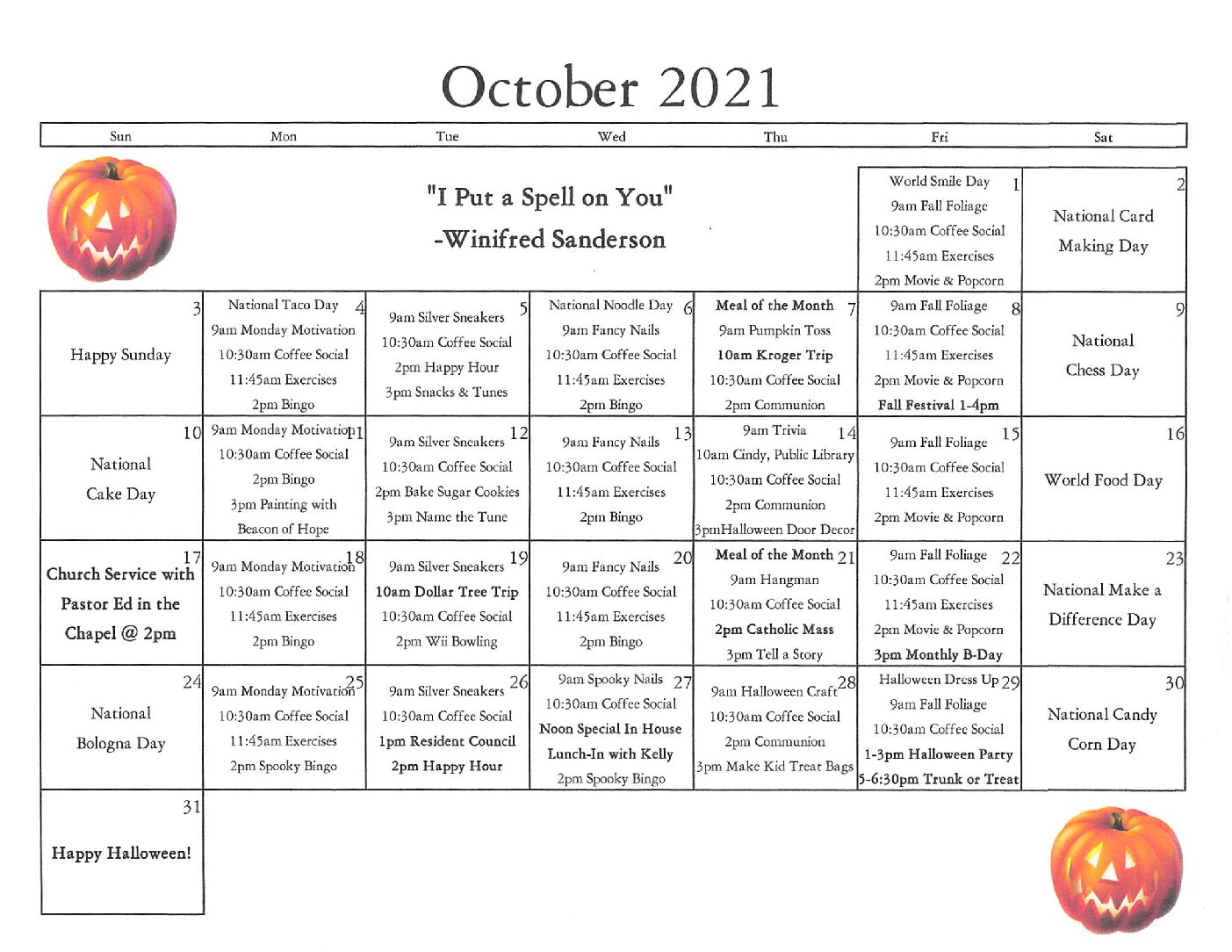 Activities Calendar for Saint Francis Woods Supportive Living in Peoria